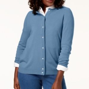 Karen Scott XLarge Luxsoft Crew-Neck Cardigan Blue